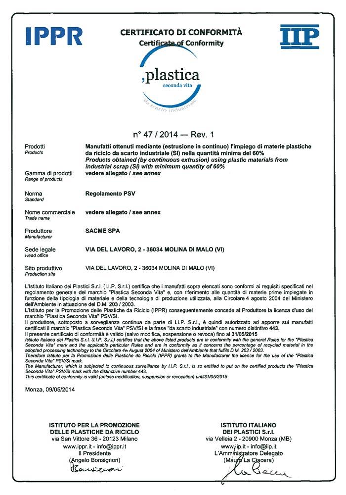 sacme-certificazioni-plastica_seconda_vita-CERTIFICATO_E_GAMMA_PRODOTTI_PSV_2014_2015